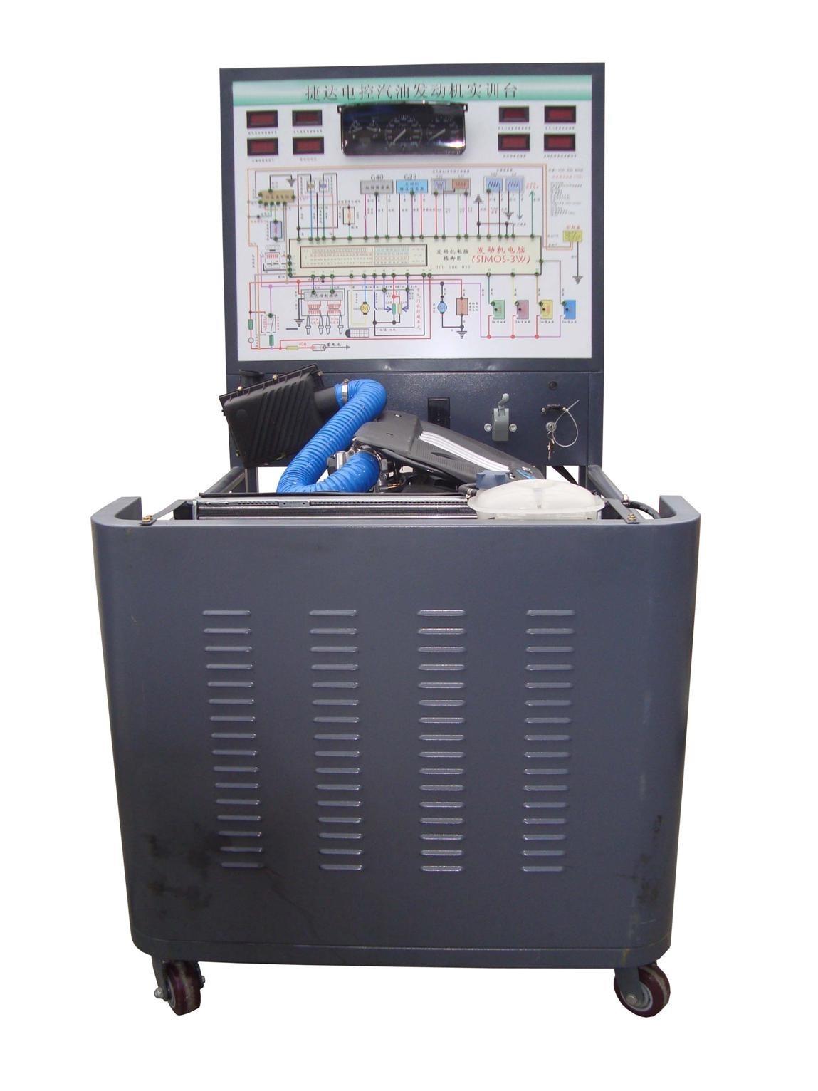 一、产品简介 捷达电控汽油发动机实训台采用电控汽油发动机总成及运行附件的固定台架和运行检测控制面板台架两部分组成。 发动机可进行起动、加速、减速等正常工况的实践操作,真实展示电控汽油发动机的组成结构和工作过程。 适用于中高等职业技术院校、普通教育类学院和培训机构对汽车发动机和维修实训的教学需要。 二.功能特点 1.