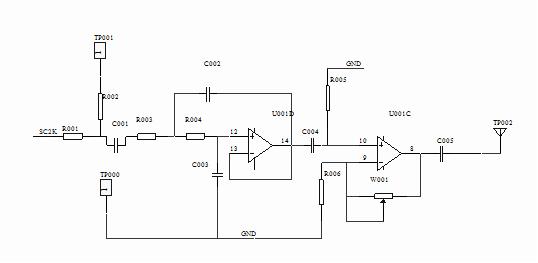 图2-1 同步正弦信号发生器电路图 (三)音乐信号产生电路 1.功用 音乐信号产生电路用来产生音乐信号送往音频终端电路,以检查话音信道的开通情况及通话质量。 2. 工作原理 音乐信号产生电路见图2-3。音乐信号由U004音乐片厚膜集成电路产生。该片的1脚为电源端,2脚为控制端,3脚为输出端,4脚为公共地端。VCC经R018、D003向U004的1脚提供3.