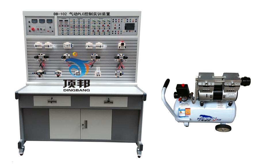 气动元件 一、主要技术参数 1、电源AC 220V 50HZ 2、直流电源:输入AC 220V,输出DC 24V/2A 3、可编程控制器(PLC):三菱FX1S-20MR主机 12输入8输出(继电器输出方式) 4、空气压缩机(基本配置小型机) 电机功率:250W 电源:AC220V 5、公称容量:10L 6、额定输出气压0.7Mpa 7、实训装置外型尺寸:1500mm×600mm×1700mm 二、主要特点 1、气动PLC控制实训装置主要由实训桌及实训台、气动元件和电气控制器件