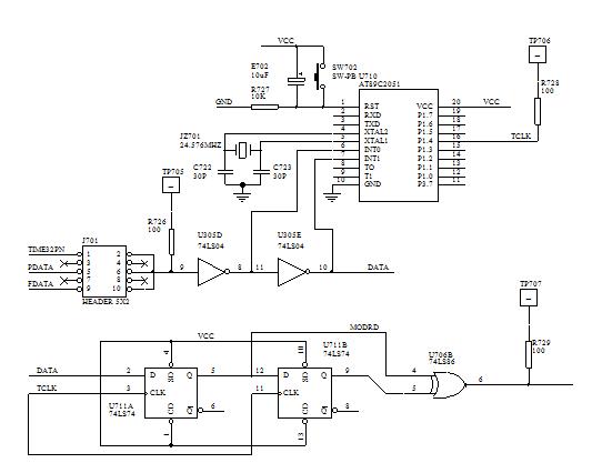 图11-3同步时钟提取及信码再生电原理图 五、实验报告要求 1. 画出位定时恢复与信码再生电路方框图。 2. 简述它的工作原理及工作过程。 3. 单片机编程,实现一个固定速率数字基带序列的同步时钟提取。这个比较简单,请同学试试!