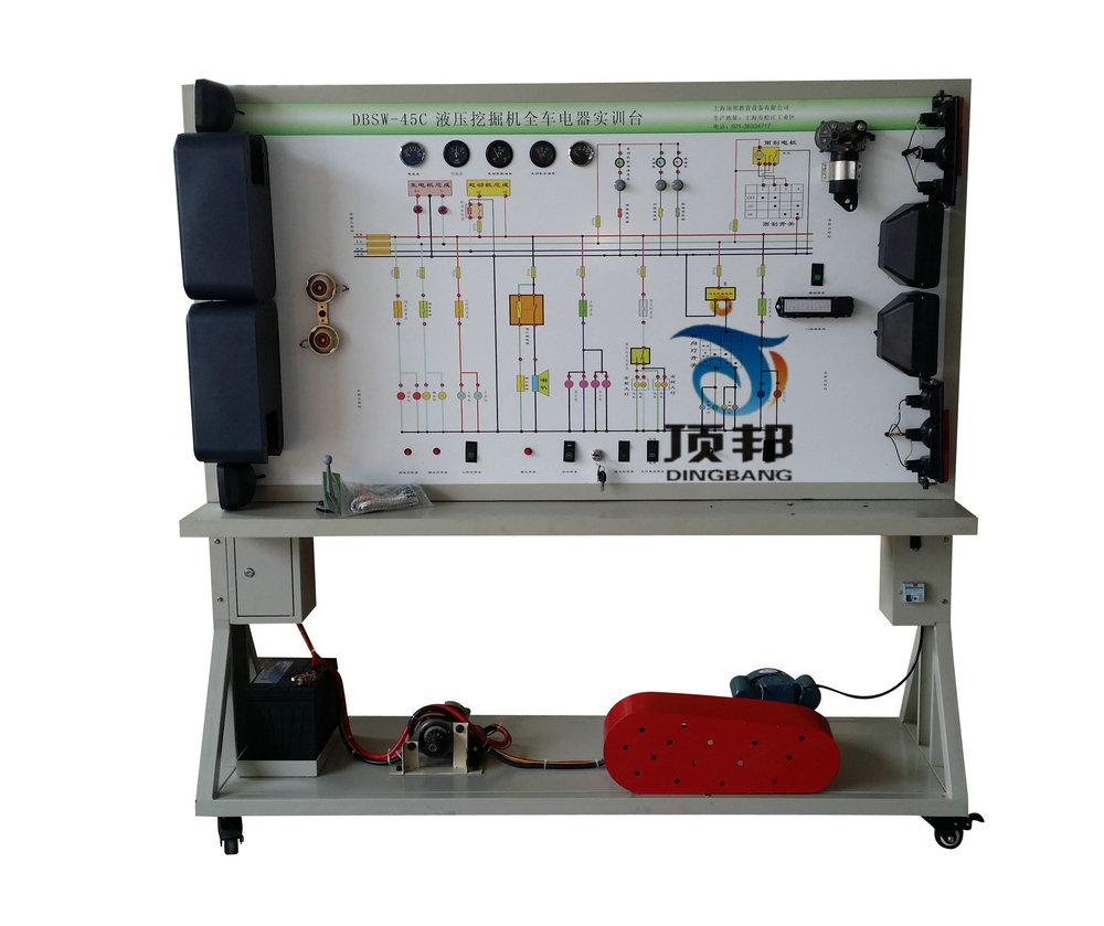 (与各系统实物同步安装)、故障设置系统、移动台架等。 四.功能特点 1.可运行SW-45C 液压挖掘机全车电器系统,展示SW-45C 液压挖掘机全车电器系统的组成结构及原理。 2.操纵各种电器开关及按钮,可真实演示SW-45C 液压挖掘机电器各系统的工作过程。 3.故障模拟系统可模拟实际运行工况,设置多种实车电器系统常见故障(常规:1-36个),故障点内容及类型可根据用户调整。 4.执行元器件用LED 灯显示工作状态。 5.面板上绘有彩色UV平板喷绘电路原理图,学员可直观对照电路原理图和实物,认识和分析工