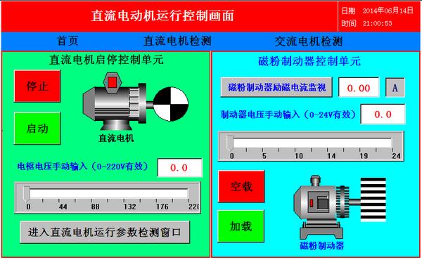 直流电动机运行控制画面